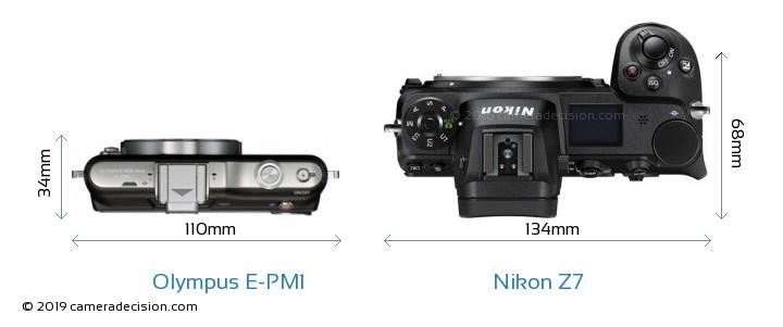 Olympus E-PM1 vs Nikon Z 7 Camera Size Comparison - Top View