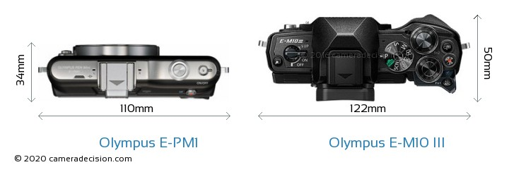 Olympus E-PM1 vs Olympus E-M10 MIII Camera Size Comparison - Top View