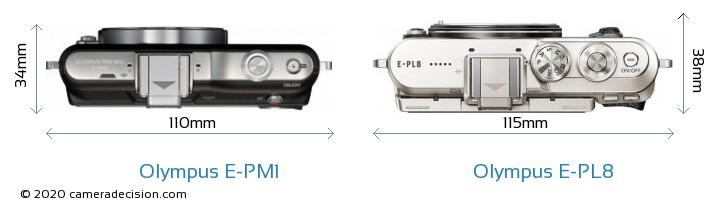 Olympus E-PM1 vs Olympus E-PL8 Camera Size Comparison - Top View