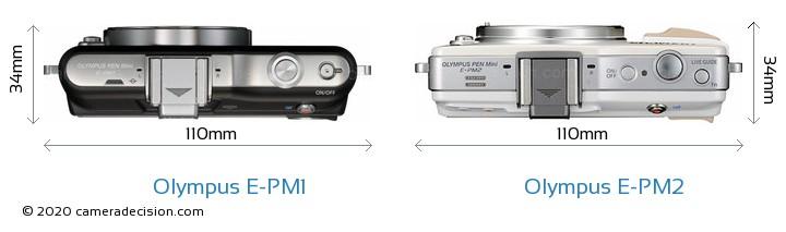 Olympus E-PM1 vs Olympus E-PM2 Camera Size Comparison - Top View
