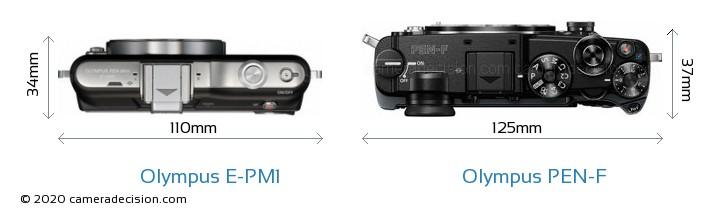 Olympus E-PM1 vs Olympus PEN-F Camera Size Comparison - Top View