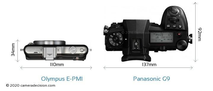 Olympus E-PM1 vs Panasonic G9 Camera Size Comparison - Top View