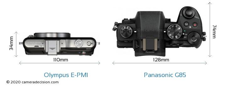 Olympus E-PM1 vs Panasonic G85 Camera Size Comparison - Top View