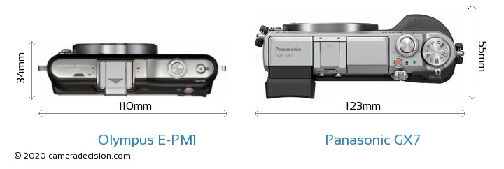 Olympus E-PM1 vs Panasonic GX7 Camera Size Comparison - Top View