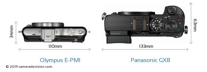 Olympus E-PM1 vs Panasonic GX8 Camera Size Comparison - Top View