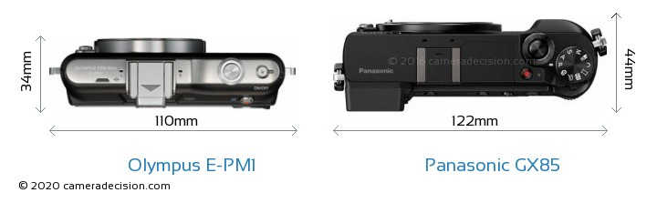 Olympus E-PM1 vs Panasonic GX85 Camera Size Comparison - Top View