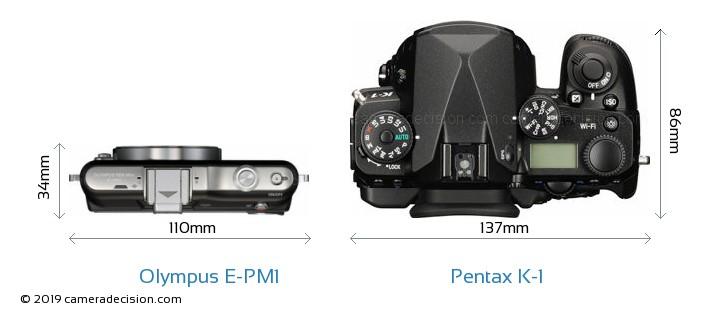 Olympus E-PM1 vs Pentax K-1 Camera Size Comparison - Top View