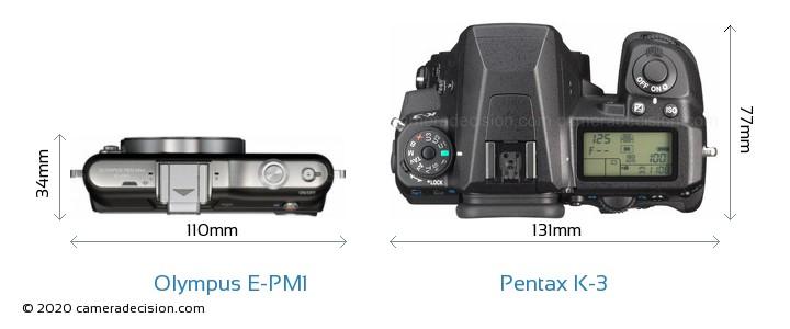 Olympus E-PM1 vs Pentax K-3 Camera Size Comparison - Top View