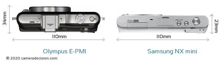 Olympus E-PM1 vs Samsung NX mini Camera Size Comparison - Top View