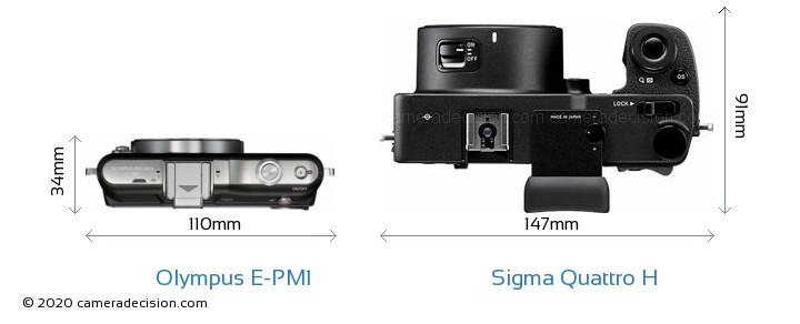 Olympus E-PM1 vs Sigma Quattro H Camera Size Comparison - Top View