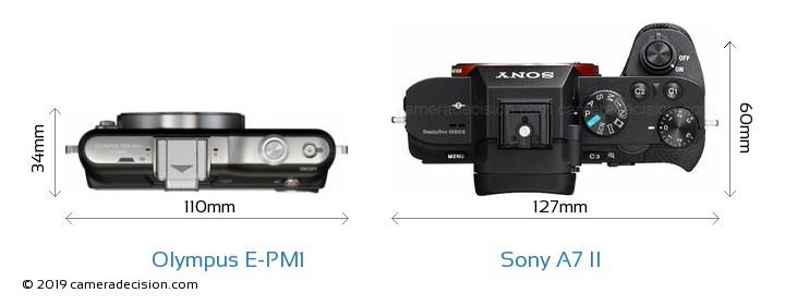 Olympus E-PM1 vs Sony A7 II Camera Size Comparison - Top View