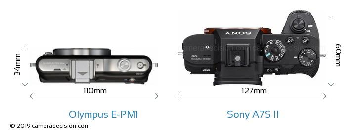 Olympus E-PM1 vs Sony A7S II Camera Size Comparison - Top View