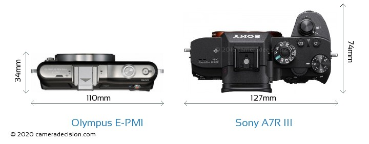 Olympus E-PM1 vs Sony A7R III Camera Size Comparison - Top View