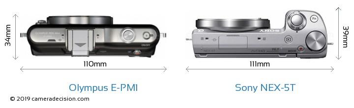 Olympus E-PM1 vs Sony NEX-5T Camera Size Comparison - Top View