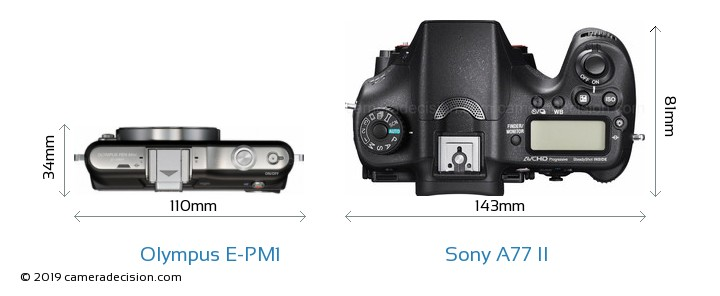 Olympus E-PM1 vs Sony A77 II Camera Size Comparison - Top View