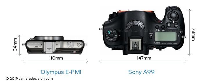 Olympus E-PM1 vs Sony A99 Camera Size Comparison - Top View