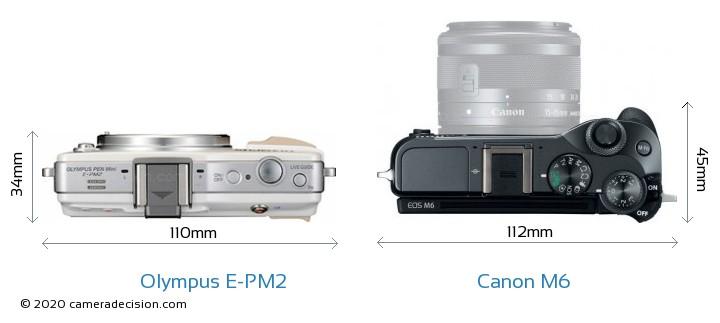 Olympus E-PM2 vs Canon M6 Camera Size Comparison - Top View