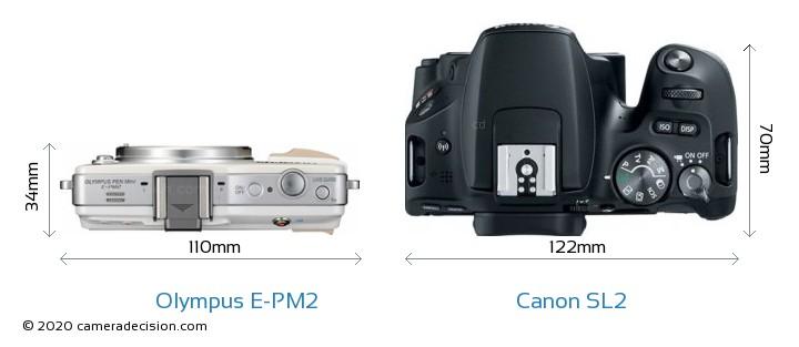 Olympus E-PM2 vs Canon SL2 Camera Size Comparison - Top View