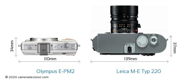 Olympus E-PM2 vs Leica M-E Typ 220 Camera Size Comparison - Top View