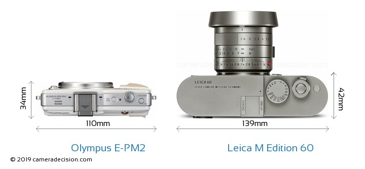 Olympus E-PM2 vs Leica M Edition 60 Camera Size Comparison - Top View