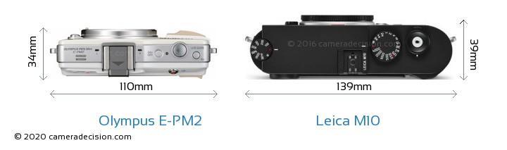 Olympus E-PM2 vs Leica M10 Camera Size Comparison - Top View