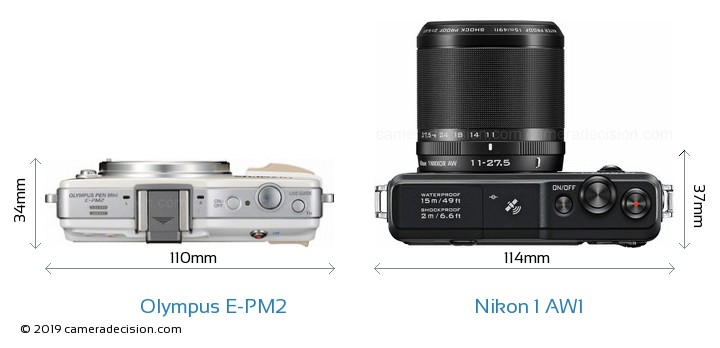 Olympus E-PM2 vs Nikon 1 AW1 Camera Size Comparison - Top View