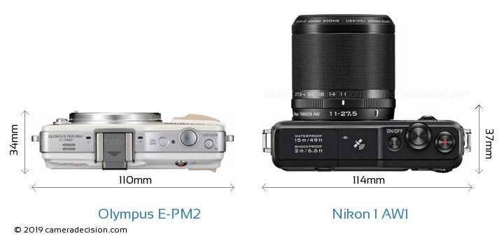 Olympus E-PM2 vs Nikon 1 AW1 Camera Size Comparison - Top View