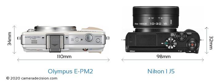 Olympus E-PM2 vs Nikon 1 J5 Camera Size Comparison - Top View
