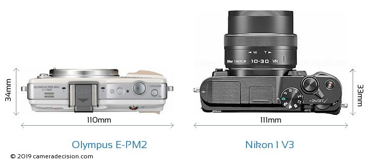Olympus E-PM2 vs Nikon 1 V3 Camera Size Comparison - Top View