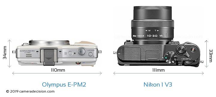 Olympus E-PM2 vs Nikon 1 V3 Camera Size Comparison - Top View