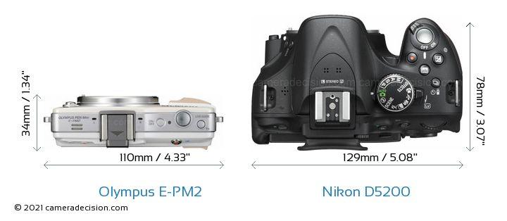 Olympus E-PM2 vs Nikon D5200 Camera Size Comparison - Top View