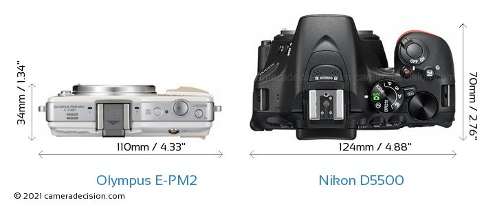 Olympus E-PM2 vs Nikon D5500 Camera Size Comparison - Top View