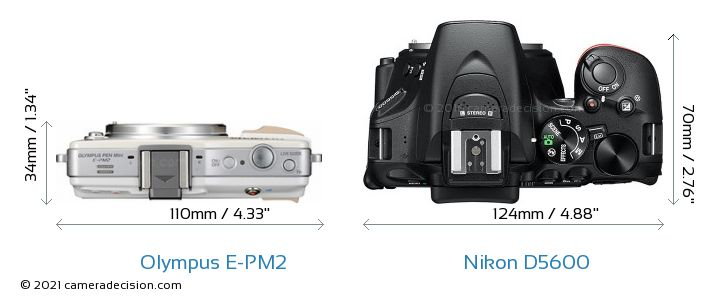 Olympus E-PM2 vs Nikon D5600 Camera Size Comparison - Top View