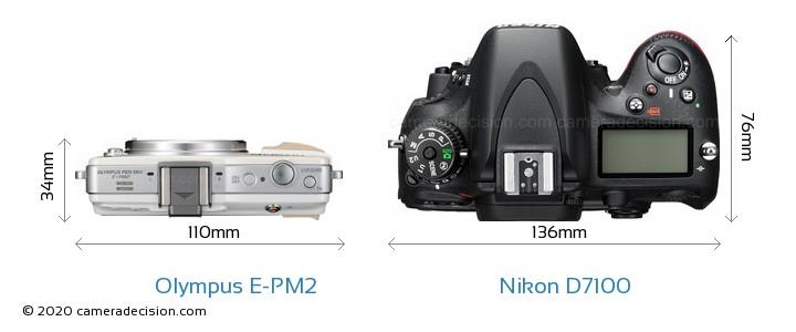 Olympus E-PM2 vs Nikon D7100 Camera Size Comparison - Top View