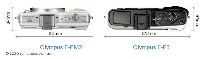 Olympus E-PM2 vs Olympus E-P3 Camera Size Comparison - Top View