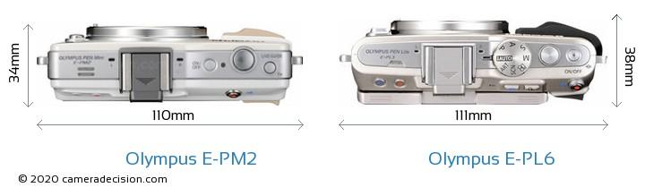 Olympus E-PM2 vs Olympus E-PL6 Camera Size Comparison - Top View