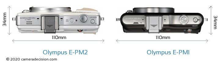Olympus E-PM2 vs Olympus E-PM1 Camera Size Comparison - Top View
