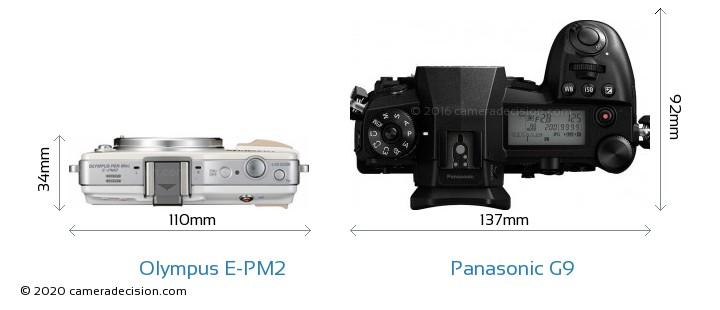 Olympus E-PM2 vs Panasonic G9 Camera Size Comparison - Top View