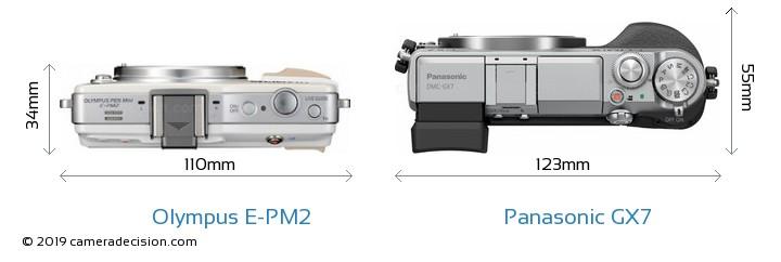 Olympus E-PM2 vs Panasonic GX7 Camera Size Comparison - Top View