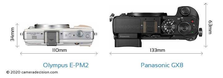 Olympus E-PM2 vs Panasonic GX8 Camera Size Comparison - Top View