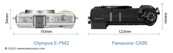 Olympus E-PM2 vs Panasonic GX85 Camera Size Comparison - Top View