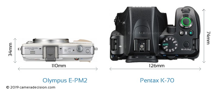 Olympus E-PM2 vs Pentax K-70 Camera Size Comparison - Top View