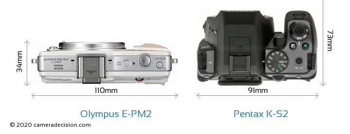 Olympus E-PM2 vs Pentax K-S2 Camera Size Comparison - Top View