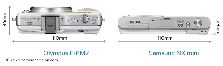 Olympus E-PM2 vs Samsung NX mini Camera Size Comparison - Top View