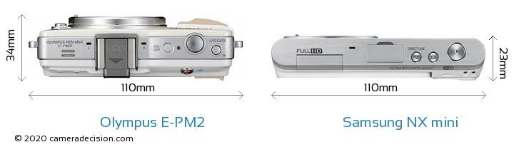 Olympus E-PM2 vs Samsung NX mini Camera Size Comparison - Top View