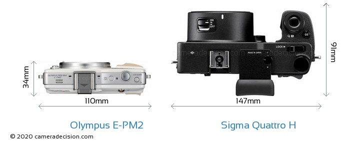 Olympus E-PM2 vs Sigma Quattro H Camera Size Comparison - Top View