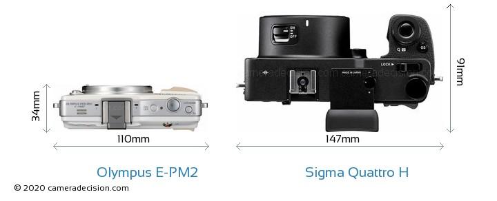 Olympus E-PM2 vs Sigma Quattro H Camera Size Comparison - Top View