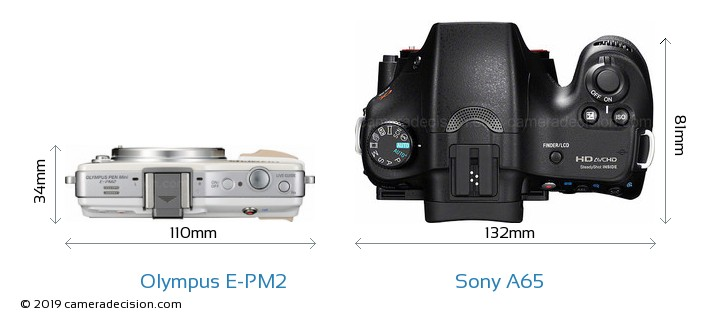 Olympus E-PM2 vs Sony A65 Camera Size Comparison - Top View