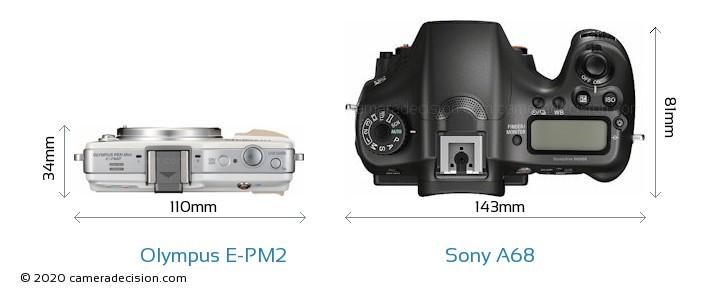 Olympus E-PM2 vs Sony A68 Camera Size Comparison - Top View