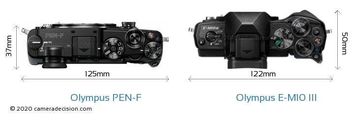 Olympus PEN-F vs Olympus E-M10 MIII Camera Size Comparison - Top View
